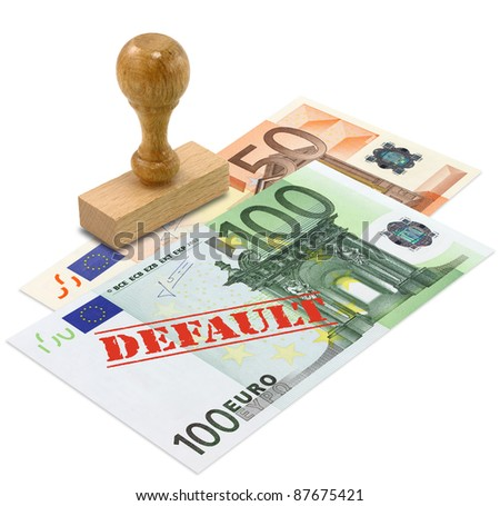 Euro banknote with the word DEFAULT stamped. European Union financial crisis concept. - stock photo
