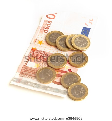 euro banknotes and coin on a white background