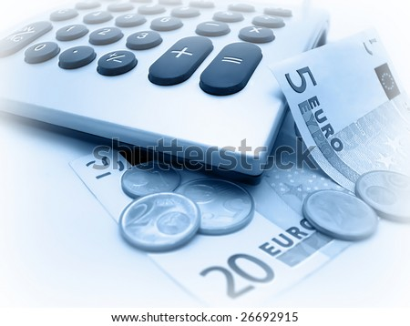 Euro banknotes and coins calculating - stock photo