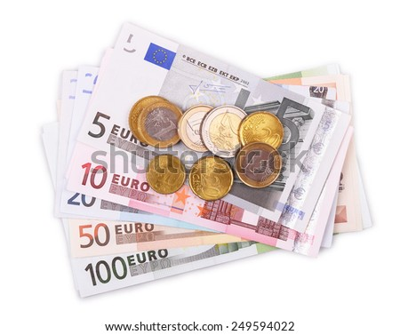 Euro banknotes and coins isolated on white  - stock photo