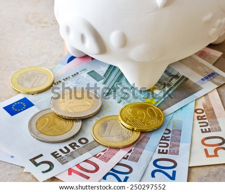 Euro banknotes and coins with piggy bank - cash as savings - economy and finance - stock photo