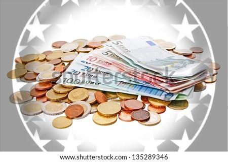 euro banknotes and euro coins / euro money - stock photo