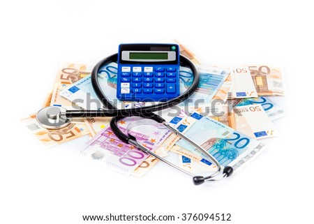 euro banknotes and stethoscope. medical concept - stock photo