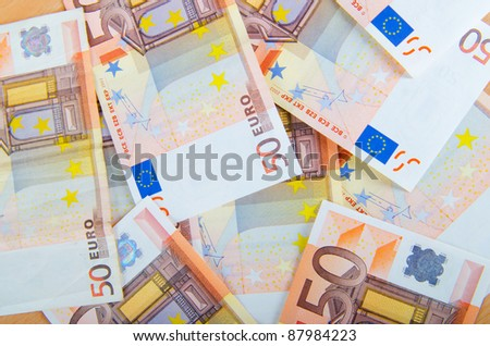 Euro banknotes arranged in set - stock photo