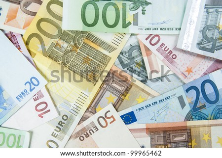 Euro banknotes as a background - stock photo
