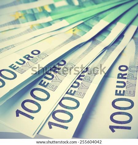 Euro banknotes close-up. Retro style filtred image - stock photo