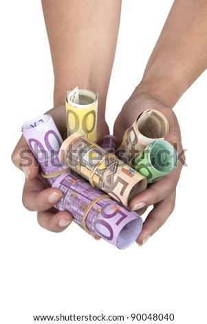 Euro banknotes in hands isolated on white background - stock photo