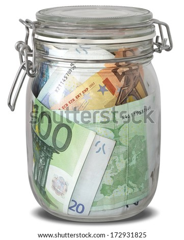 Euro banknotes in jar as preserves isolated on white background