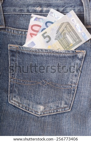 Euro banknotes in the jeans pocket - stock photo