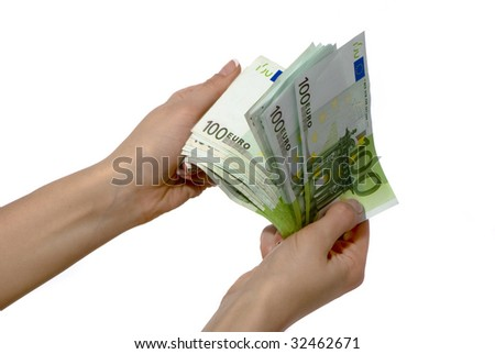 Euro banknotes in woman hand - stock photo