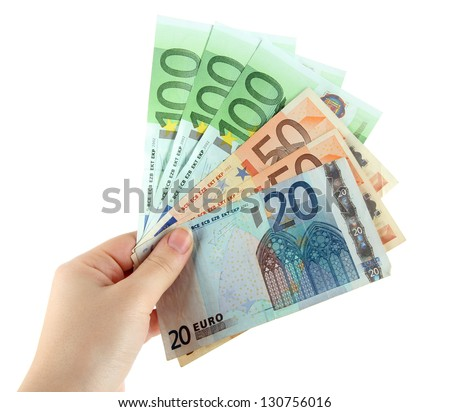 Euro banknotes isolated on a white - stock photo