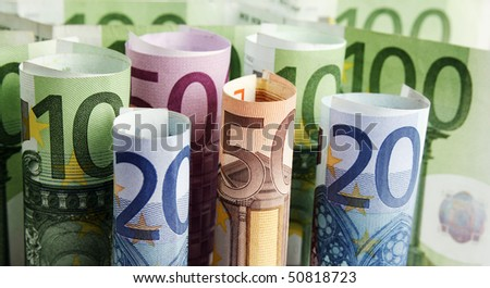 Euro banknotes money - stock photo