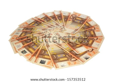 Euro banknotes money background isolated on white - stock photo