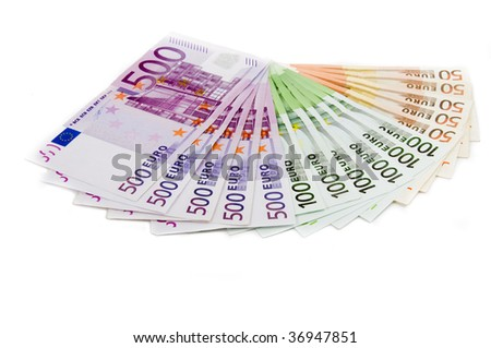 Euro banknotes money European currency including 50, 100 and 500 euros - stock photo