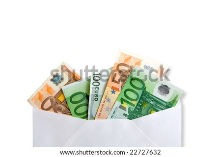 Euro banknotes money  in envelope - stock photo