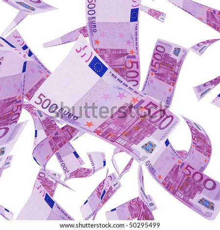 Euro banknotes money isolated on white