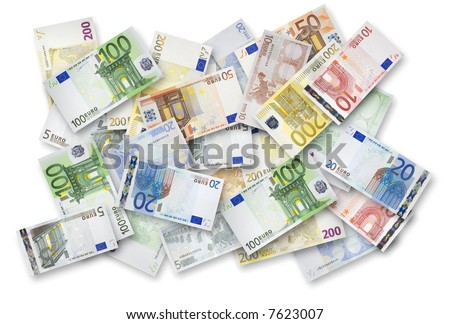 Euro banknotes of 200, 100, 50, 20, 10 and 5 Euroes spread randomly on a table. - stock photo