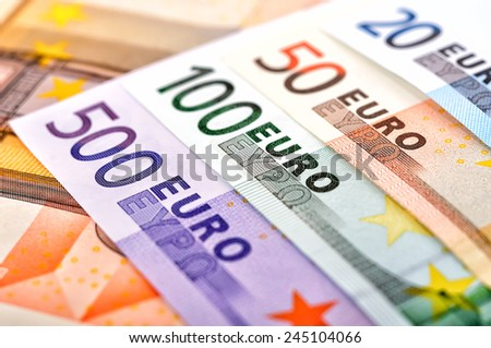 euro banknotes of the european union, close up - stock photo