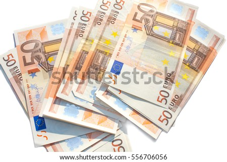 Euro banknotes pile. European money currency nominal fifty euros. isolated on white