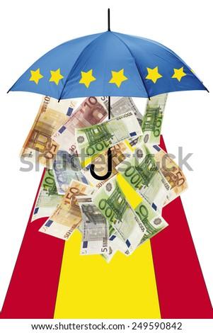 Euro banknotes under umbrella with spanish flag - stock photo