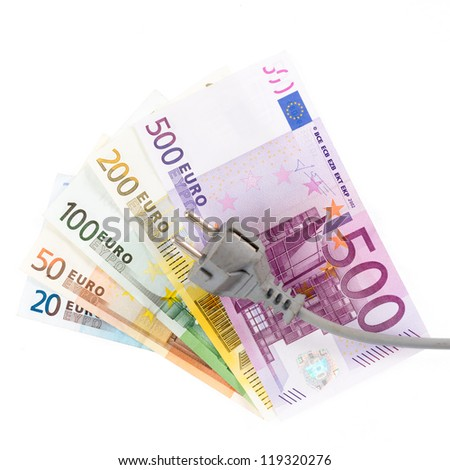 Euro banknotes with cable in front of white background