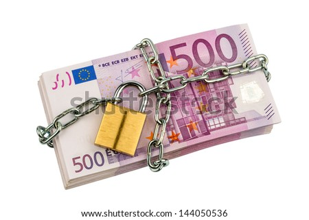 euro banknotes with chain and padlock. photo icon for security and inflation. - stock photo