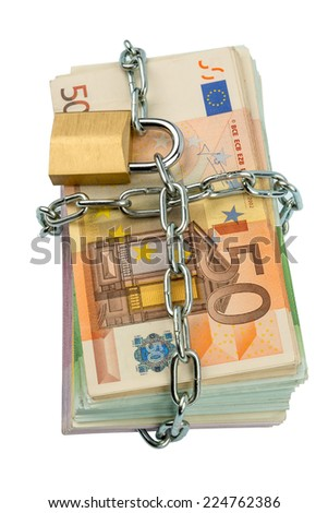 euro banknotes with chain and padlock. symbol photo for security and inflation. - stock photo