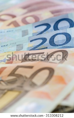 euro banknotes with different denomination