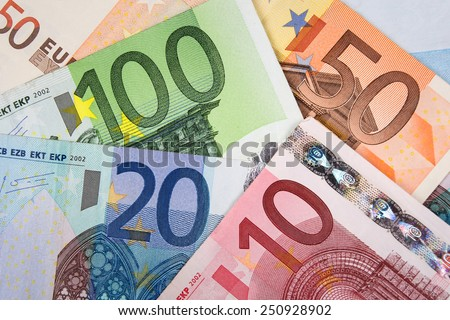 Euro banknotes with various denomination close up  - stock photo