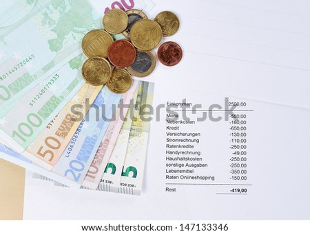 Euro bill and Coins with chart - stock photo
