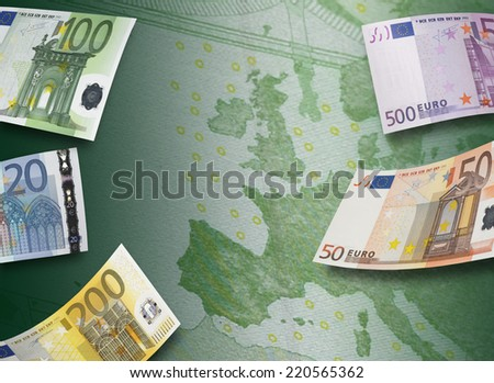 Euro bill collage and Europe map. Horizontall format - stock photo