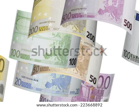 Euro bill collage isolated on white. Horizontal format - stock photo