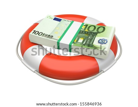 Euro bill stack currency in lifebuoy. Business concept. 3d image - stock photo