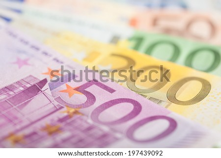 Euro bills background - stock photo