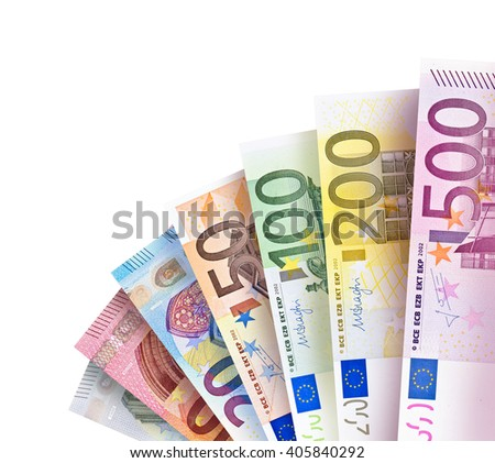 Euro Bills creating a colorful background