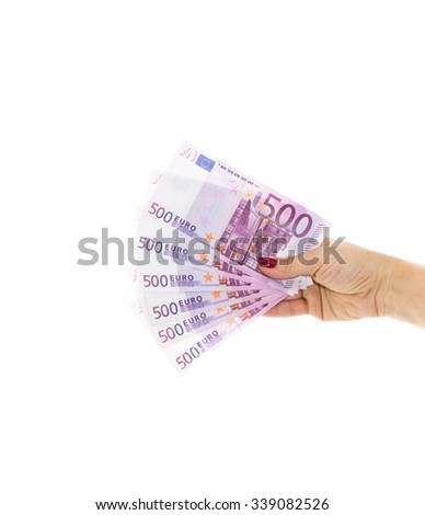 euro bills 500 euro banknotes. hand holding money. European Union Currency