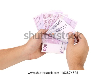 Euro bills in hands as fan. Isolated on a white background.