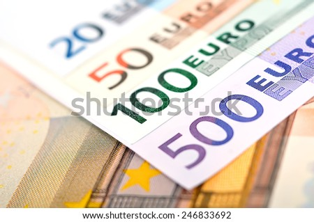 euro bills of the european union, close up