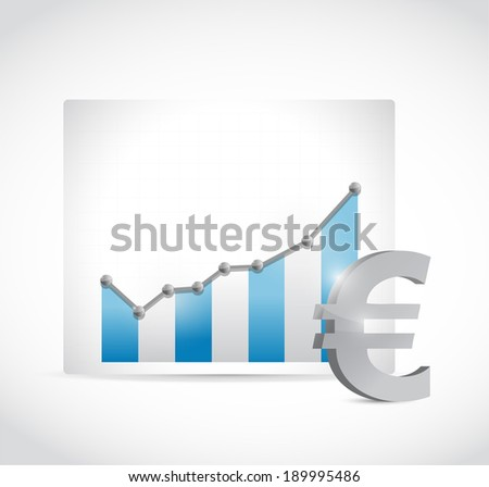 euro business graph chart illustration design over a white background