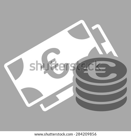 Euro cash from BiColor Euro Banking Icon Set. Glyph style: flat bicolor, dark gray and white symbol, rounded angles, silver background. - stock photo