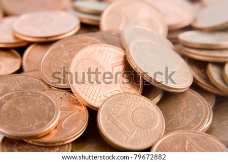 euro cents. - stock photo