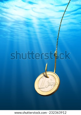 Euro coin bait - stock photo