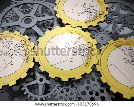 Euro coin gears and cog wheels - european financial system - stock photo