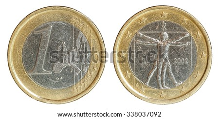 euro coin obverse and reverse with path - stock photo