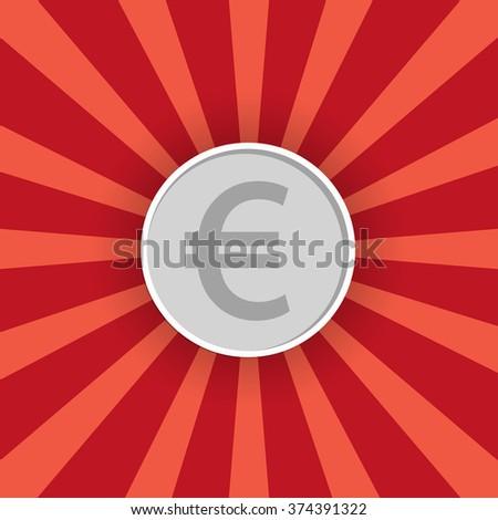 Euro coin silver  - stock photo