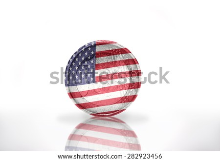 euro coin with american flag on the white background