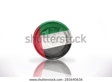 euro coin with united arab emirates flag on the white background - stock photo