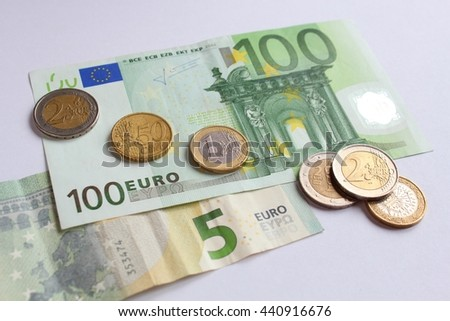 Euro - coins and banknotes - stock photo