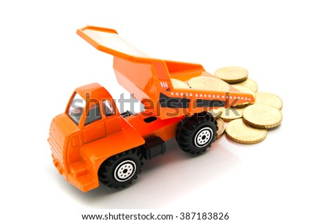 euro coins and orange truck on white