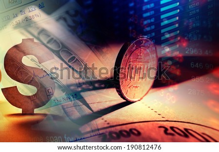 Euro coins and us dollar banknote background. Finance concept. - stock photo